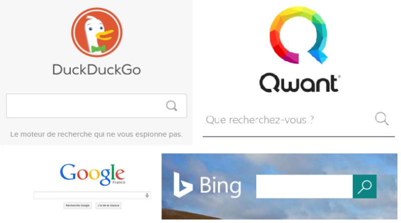 Divers moteurs de recherche sur Internet