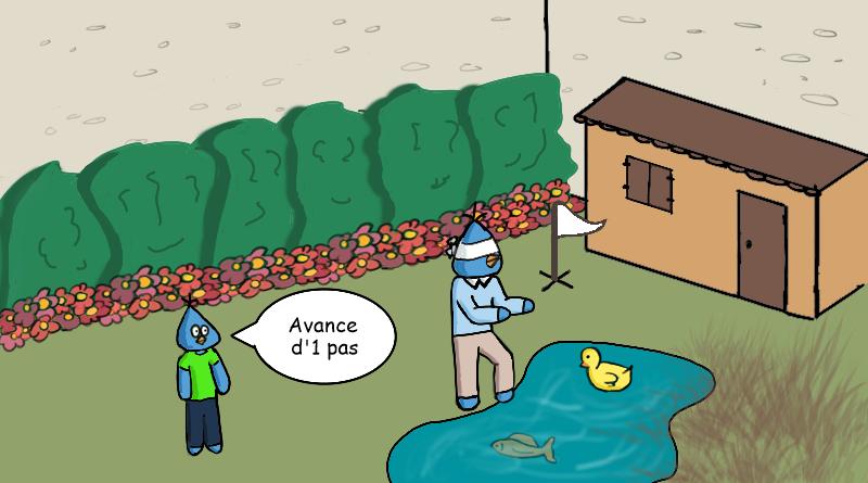 Bluesoos en train d'apprendre à coder dans le jardin