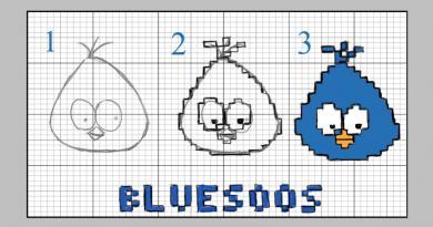 Dessin de bluesoos transformé en pixel art